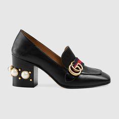 Gucci Donna - Mocassino tacco medio in pelle - 425943CQXM01061