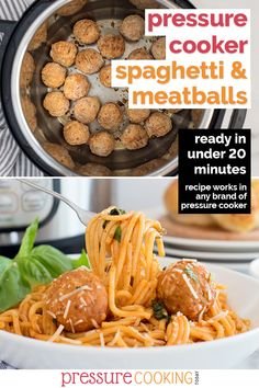 Pressure Cooker Spaghetti and Meatballs is a quick and easy dump-and-go meal that uses frozen meatballs, spaghetti, and your favorite tomato sauce. It's a simple and fast weeknight dinner recipe that's fully kid-approved.