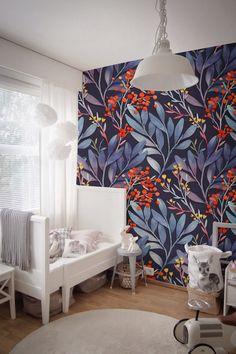 Blue Tropical Mural Wall Decor Peel And Stick Reusable  #wallpaper #peelandstick #wallmurals #jungle #night #dark #darkdecor #livingroomdecor #cosy #cosyhome #homeideas #design #momlife #mom #wallpaper #peelandstick