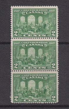 1927 Canada MH strip of 3 stamps scott #142 Fathers confederation green
