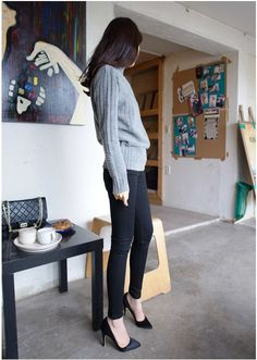 Stiletto Black Heels (Handmade) - PUMPS - WOMEN - SHOES | Korean Fashion Online Shopping Mall - KOODING.com