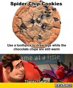 Spider Chip Cookies- HA HA HA! Too funny.