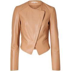 Michael Kors - Leather Wrap Front Jacket ($1,109) ❤ liked on Polyvore featuring outerwear, jackets, coats, leather jacket, veste, beige, women, red leather jacket, long sleeve jacket and michael kors