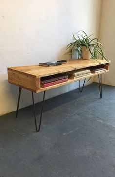 Rustic Industrial Vintage Side Table/ Coffee Table/ TV Stand On 30cm Hairpin Legs