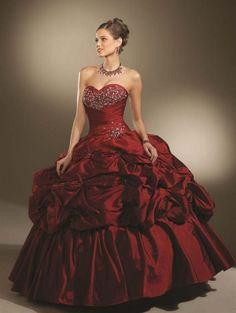 Vin rouge robe de bal en taffetas Robe de mariée gothique