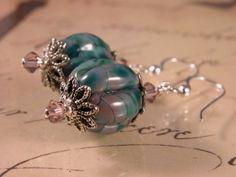 Handmade earrings, purple and teal artisan lampwork, sterling silver