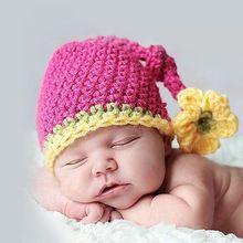 Mooie Pasgeboren Baby meisje Hoed, handgemaakte Haak Knit beanie Hoed in roze, roze hoed en Gele bloemen(China (Mainland))