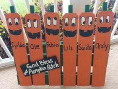 Half pallet with personalized pumpkin family. Cute and unique Halloween Decor.