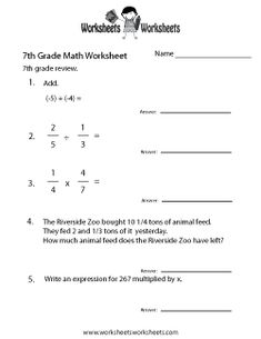 Printables 7th Grade Math Worksheets Free 7th grade algebra worksheets math places free printable for teachers and kids