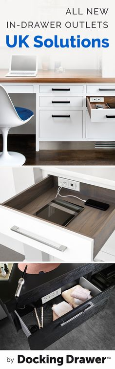 Stay organized by installing an in-drawer outlet into your new or existing cabinet drawers. UK outlets are now available!