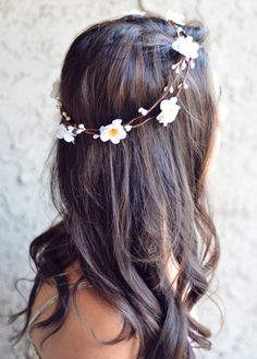Hawaiian White Flower Crown Double Vine Flower Girl Festival Hair Jewelry Hair Accessories Boho Floral Crown Spring Summer on Etsy, $12.00