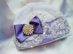 Newborn Girl Baby Hospital Hat Purple Beaded by NanaJustbananas