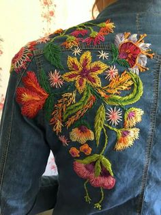 Embroidery Flowers Fashion Embellishments 50 Best Ideas,Embroidery Flowers Fashion Embellishments 50 Best Ideas Good a few ideas for wonderful embroidery By embroidering wonderful patterns, little figures o. Embroidered Clothes, Embroidered Jacket, Hand Embroidery Designs, Embroidery Art, Bone Bordado, Denim Ideas, Denim Crafts, Embroidery Fashion, Flower Fashion