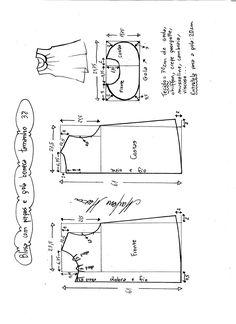 Esquema de modelagem de blusa com pregas e gola boneca tamanho 38.