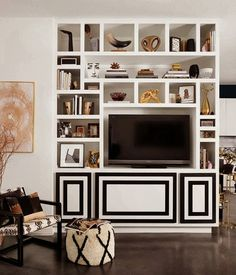 graphic black and white tv cabinet