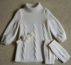 2Мои работы девочкам: кофты, свитера, туники, платья, комплекты Белое трио