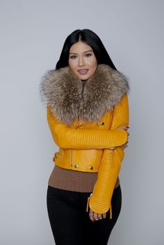 Mustard Fur Collar Leather Jacket – KarensClosetNY #mustard_leather_jacket #leatherjacket #furcollar