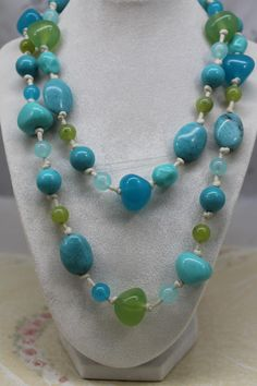 Long Chunky Variable Blue and Green Hard Plastic Bead Necklace by amyrigs on Etsy