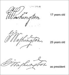 George Washington's signature evolution. What an amazing study. How mature he was at only 17 years. Don't see this too often in today's youth!