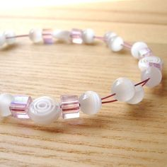 Pink and White Floating Bead Bracelet £8.00