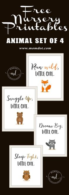 Free Nursery Printables: Animal Set of 4 -