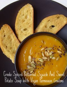 Creole Spiced Butternut Squash & Sweet Potato Soup With Vegan Parmesan Croutons | 41 Delicious Vegan Thanksgiving Recipes