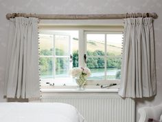 These short cottage windows suit the Grey & Ivory striped curtains which marry up with the statement Apple Blossom Pearl/Ivory wallpaper Short Curtains Bedroom, Short Window Curtains, Striped Curtains, Nursery Curtains, Bedroom Windows, Curtains With Blinds, Cottage Blinds, Cottage Windows, House Blinds