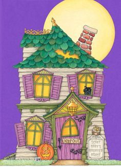 Mary Engelbreit Cozy Haunted House 5x7 Folded Card