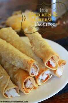 Baked Chicken & Cheese Taquitos - My vote is to instead use slow cooker to make salsa chicken for more flavor, then add to tortillas with about twice as much cheese as suggested to pop in the oven. Find heartier corn tortillas too.