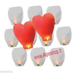 25 Lanterne Volanti LOVE Matrimonio Bianche & Rosse Lanterna Volante Cuore Rosso