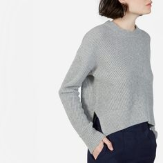 Rib knit sweater inspiration. Love the rib meeting in the middle