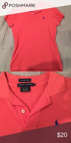 Ralph Lauren Skinny Polo collared polo. Easy to dress up or down. A quick and easy preppy look! Shirt is in wonderful condition- I just don't wear it enough! It is a salmon color Ralph Lauren Tops