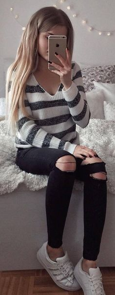 #winter #fashion / Striped V-neck Knit + Destroyed Skinny Jeans + White Sneaker