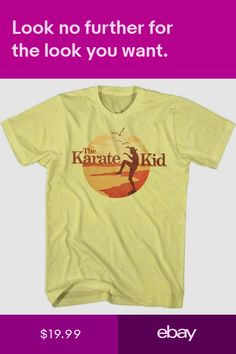 b4ad3f6f73548e KARATE KID Mens Short Sleeve T-Shirt YELLOW HEATHER SUNSET KID