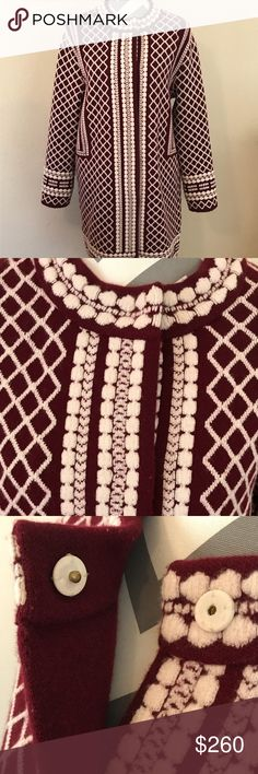 Authentic Tory Burch Wool Jacket- M Tory Burch brand, size Medium, beautiful detailing! The pattern design is so flattering, you honestly feel like royalty wearing this jacket, it's long below the knee for most, color is Maroon red with white, excellent used condition, Retails for $660, has snap buttons. An amazing item to have in your closet. Tory Burch Jackets & Coats