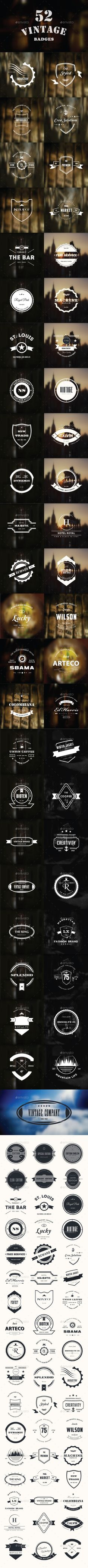 52 Retro Vintage Insignias & Logo-Badges-Bundle | #insignias #logo #badges…