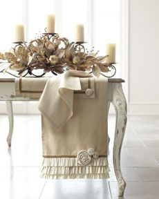 Lovely Shabby Chic Neutrals .... candle holders can be rented  and you can save on the flowers.... the look is regal and lovely