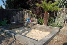 sandpit, chunky treated pine sleepers