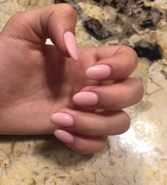 Nude pink almond/oval acrylic nails