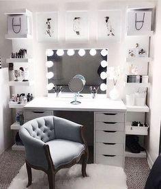 Large DIY Makeup Room Ideas, Organizer, Storage and Decoration ( Room Idea) - Makeup Room Ideas - - Dekoration Ideen - Beauty Room Room Ideas Bedroom, Bedroom Furniture, Room Decor Diy For Teens, Bedroom Bed, Furniture Design, Furniture Chairs, Grey Bed Room Ideas, Furniture Plans, Kids Furniture