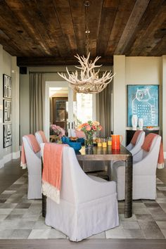 The dining room at HGTV Dream Home 2019 is a tone-on-tone space that provides a stylish spot for sharing meals and creates an important transition from the great room's lounge area to the open-concept kitchen. Elegant Dining Room, Dining Room Design, Hgtv Dream Homes, Room Pictures, Deck Pictures, Open Concept Kitchen, Dining Room Lighting, Great Rooms, Furniture