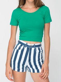 Cotton Spandex Jersey Crop Tee + Printed Stretch Twill High-Waist Cuff Short. #AmericanApparel