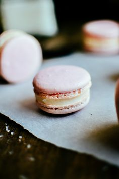 raspberry macarons with coconut butter cream filling | the farmer's daughter.