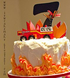 Firetruck with flames could make tiny with 1 on top for Brayden's cake