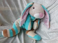 Floppy Beach BUNNY in pyjama playsuit stuffed by TALLhappyCOLORS.Etsy.com #stuffedbunnyplush #plushbunny #stuffedbunny #handmade #uniquebunny #rabbit #bunny #plushanimalrabbit #plushanimalsbunny #plushtoybunny #plushbunnytoy