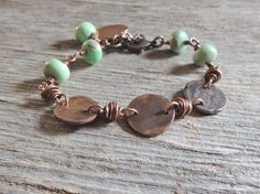 Handmade Copper Bracelet, Copper And Variscite Bracelet, Artisan Jewelry, Wire Wrapped Jewelry, Sundance Style, Rustic Handcrafted