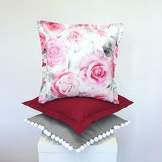 Romantic set of pillowcases with roses and pom-pom trim. Suitable for interiors of romantic cottage, country interiors also.