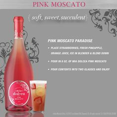 Pink Moscato~ says to split into 2 glasses.it must be a typo Party Drinks, Fun Drinks, Alcoholic Drinks, Party Party, Champagne Drinks, Cocktail Drinks, Girls Night Drinks, Pink Moscato, How To Make Drinks