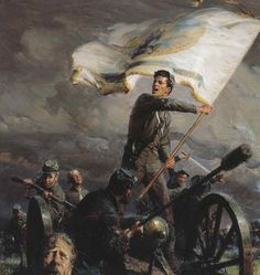 Confederate military school students attack a Union position ~ Tom Lovell painting