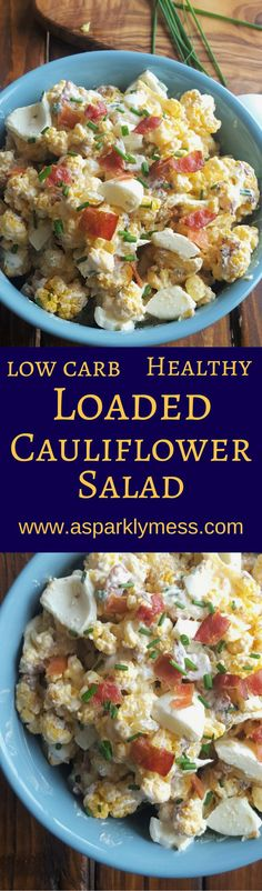Awesome twist on a summer classic, This Loaded Cauliflower Salad has tons of flavor and is a great low carb substitute for creamy potato salad.